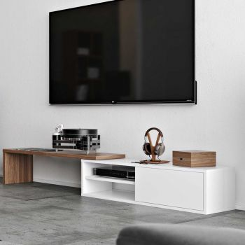 Tv-meubel Movie 110cm - wit/walnoot