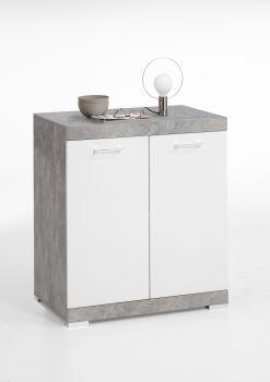 Commode Cristal 2 deuren 80x90x50 - beton/hoogglans wit