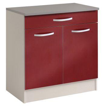 Meuble bas Spott 80 cm avec tiroir et 2 portes - glossy red