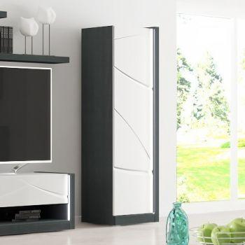 Opbergkast Eloa 1 deur - hoogglans wit/zwart