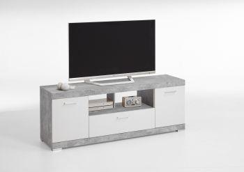 Tv-meubel Cristal 160cm - beton/hoogglans wit