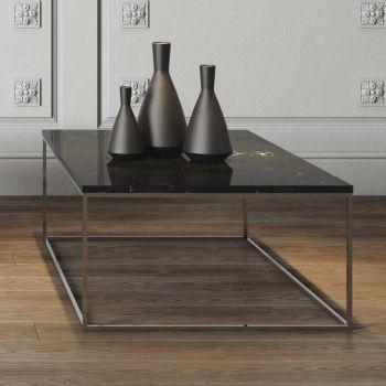 Salontafel Gleam 120x75 - zwart marmer/chroom