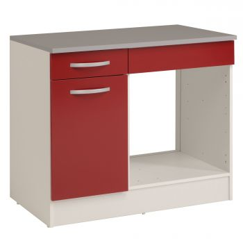 Onderkast Eko 100 cm voor oven met lade en deur - rood
