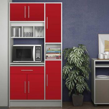 Keukenkast Louise voor magnetron - wit/rood