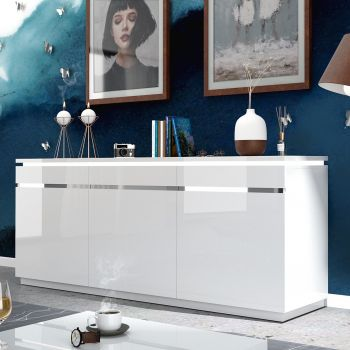 Dressoir Elif 200cm 3 deuren - hoogglans wit