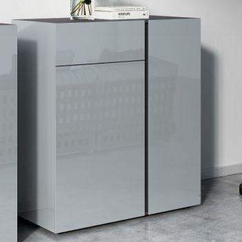 Commode Mussa 2 deuren & 1 lade 94 cm - grafiet/zilvergrijs