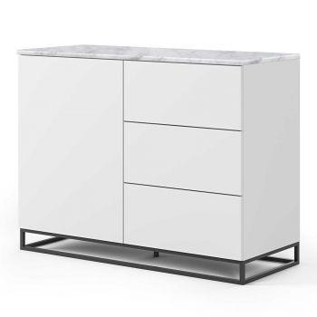 Dressoir Join 120cm met metalen onderstel, 1 deur en 3 laden - mat wit/wit marmer