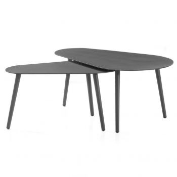 Set van 2 salontafels voor buiten Equator/Gabon - antraciet