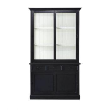 Vaisselier Vicenza à 4 portes & 3 tiroirs - noir/blanc