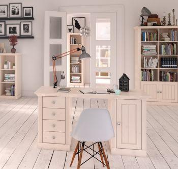 Bureau Edmund 150 cm met 1 deur & 4 lades - wit
