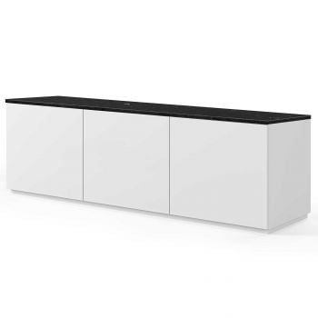 Dressoir Join 180cm laag model met 3 deuren - mat wit/zwart marmer