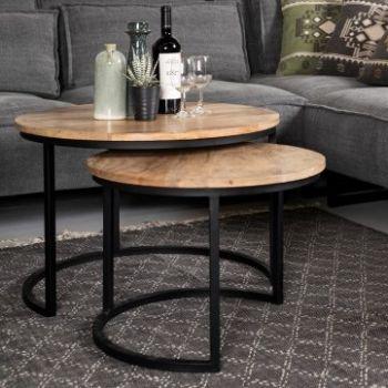 Lot de 2 tables basses Ronin ø60cm  rond – bois de manguier/fer
