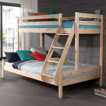 Stapelbed Triple 3-persoons hout - natuur
