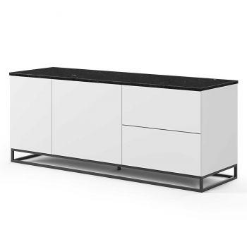Dressoir Join 160cm met metalen onderstel, 2 deuren en 2 laden - mat wit/zwart marmer