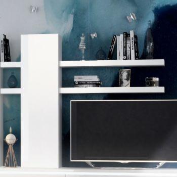 Wandkast Elif met 2 legplanken - hoogglans wit