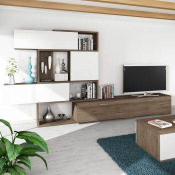 Tv-meubel Verena 230cm - walnoot/wit
