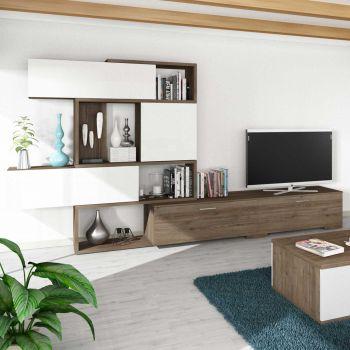 Tv-meubel Verena - walnoot/wit