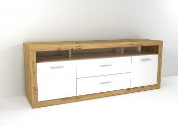 Tv-meubel Turbo 2 deuren & 2 laden - oude eik/hoogglans wit