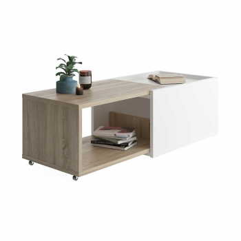 Verlengbare salontafel Sleeve - eik/wit