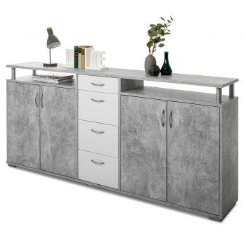 Dressoir Maximo 208cm - beton/wit