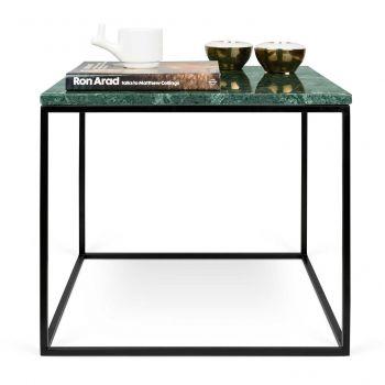 Bijzettafel Gleam 50x50 - groen marmer/staal