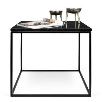 Bijzettafel Gleam 50x50 - zwart marmer/staal