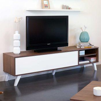 Tv-meubel Kim - walnoot/wit