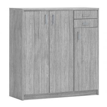 Commode Spacio 3 deuren & 2 laden H 110cm - grijze eik