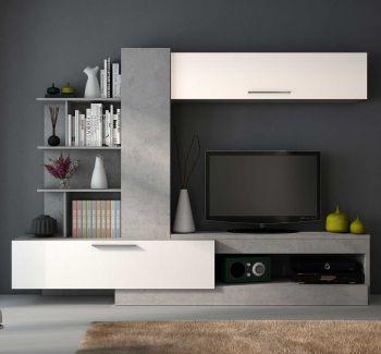Tv-meubel Zomi 260cm - beton/hoogglans wit