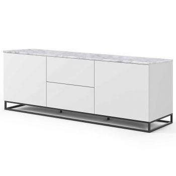 Dressoir Join 180cm met metalen onderstel, 2 deuren en 2 laden - mat wit/wit marmer