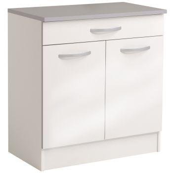 Onderkast Spoon 80 cm met 1 lade en 2 deuren - glossy white