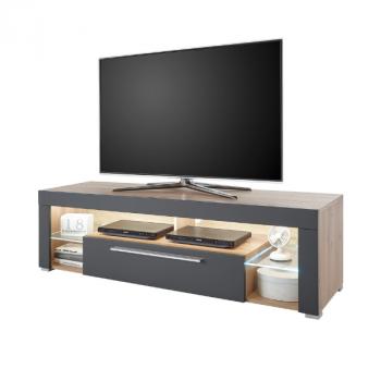 Tv-meubel Gazza 153cm met 1 deur - grijs/eik