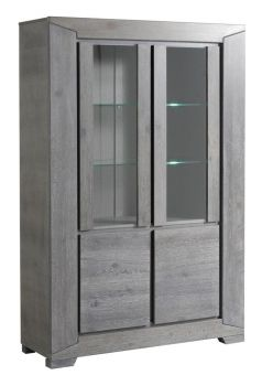 Armoire vitrine Tristan - chêne gris