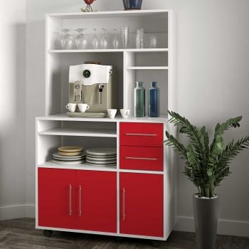Keukenkast Cesar voor microgolfoven - wit/rood