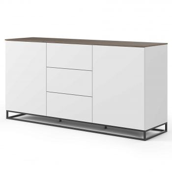 Dressoir Join 180cm met metalen onderstel, 2 deuren en 3 laden - mat wit/walnoot
