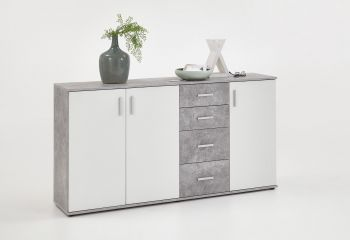 Commode Albi 3 deuren & 4 laden - beton/wit