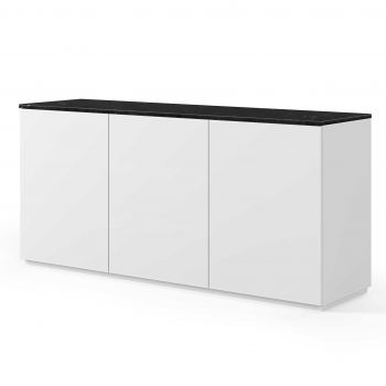 Dressoir Join 180cm hoog model met 3 deuren - mat wit/zwart marmer