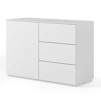 Dressoir Join 120cm met 1 deur en 3 laden - mat wit