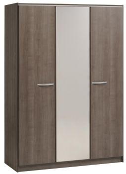 Armoire Evo 139cm avec 3 portes & miroir - noyer