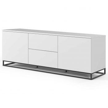 Dressoir Join 180cm met metalen onderstel, 2 deuren en 2 laden - mat wit