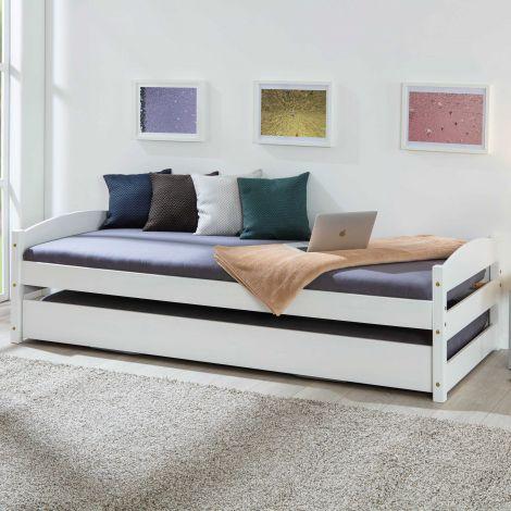 Bed Vindas 90x200 met in hoogte verstelbaar logeerbed - wit