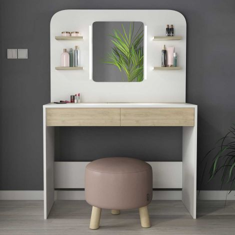 Make-uptafel Secret - eik/wit