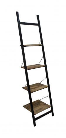Decoratief ladderrek - mangohout / ijzer - powdercoated black