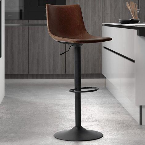 Lot de 2 chaises de bar réglables Fontana - brun