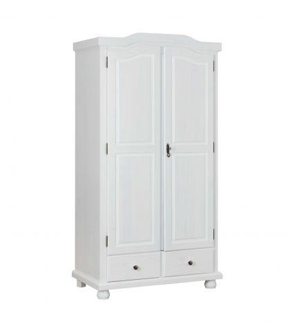 Garde-robe Ruth 104cm avec 2 portes - blanc