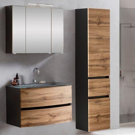 Ensemble salle de bains Kornel 5 à 3 pièces avec vasque grise - gris graphite/chêne