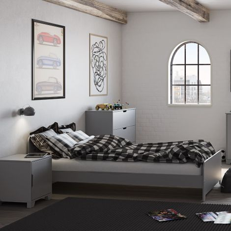 Lit simple Loki 90x200 - gris