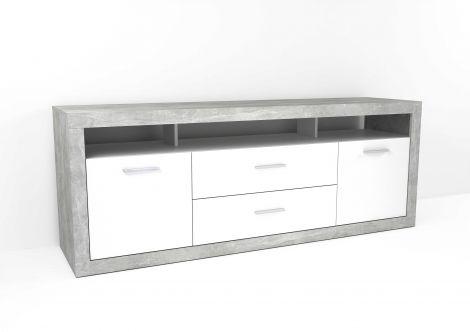 Tv-meubel Turbo 180cm met 2 deuren & 2 laden - beton/hoogglans wit