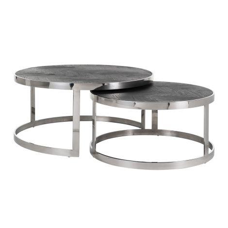 Set van 2 salontafels Bony - zwart/zilver