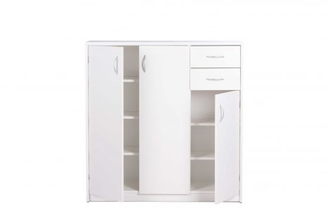 Armoire d'appoint Kiel 3 portes & 2 tiroirs H111 cm - blanc